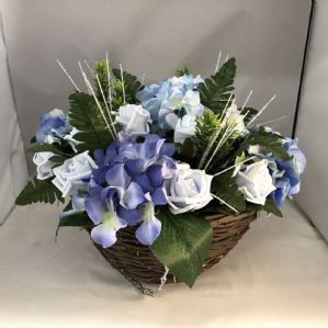 Garden Front Door Porch Artificial Hanging Basket Blue Hydrangea Roses Greenery